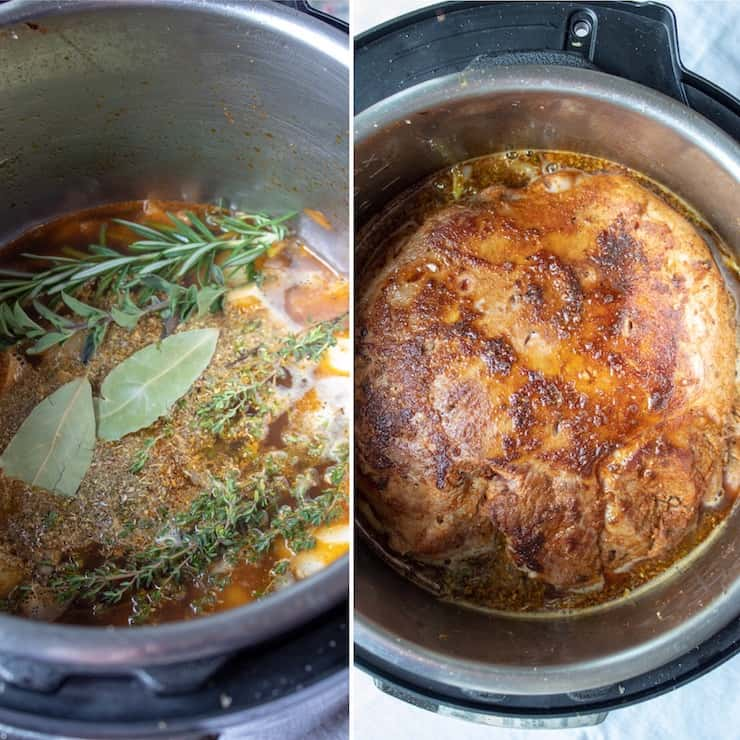 Greek Instant Pot Leg of Lamb, side by side of ingredients in pot before sealing to cook.