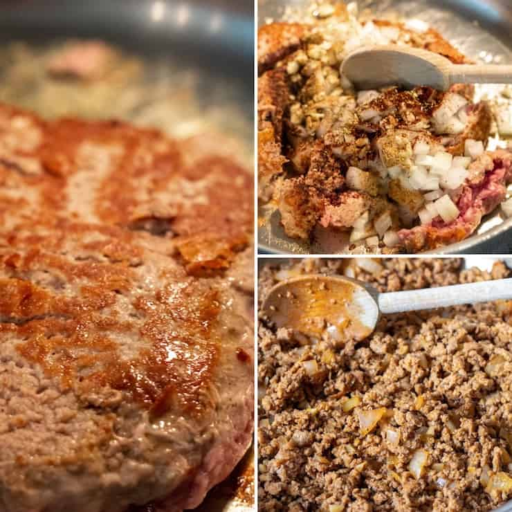 Three photo collage of browning turkey and making filling.