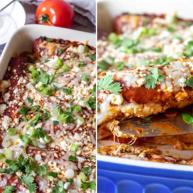 Finished enchiladas in pan , two photo collage.