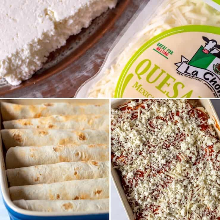 Three photo collage, two cheeses used, rolled in pan, with toppings ready for oven.