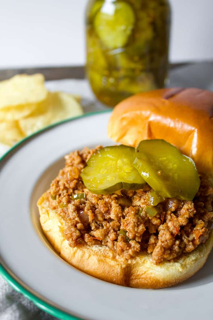 Sloppy joe sandwich with pickles