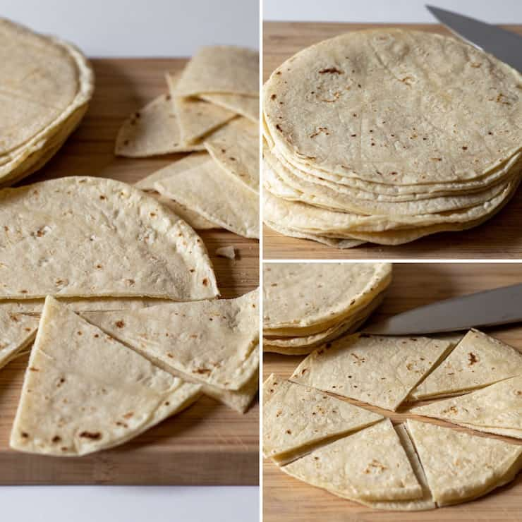 Cutting corn tortillas into triangles, process collage phto.