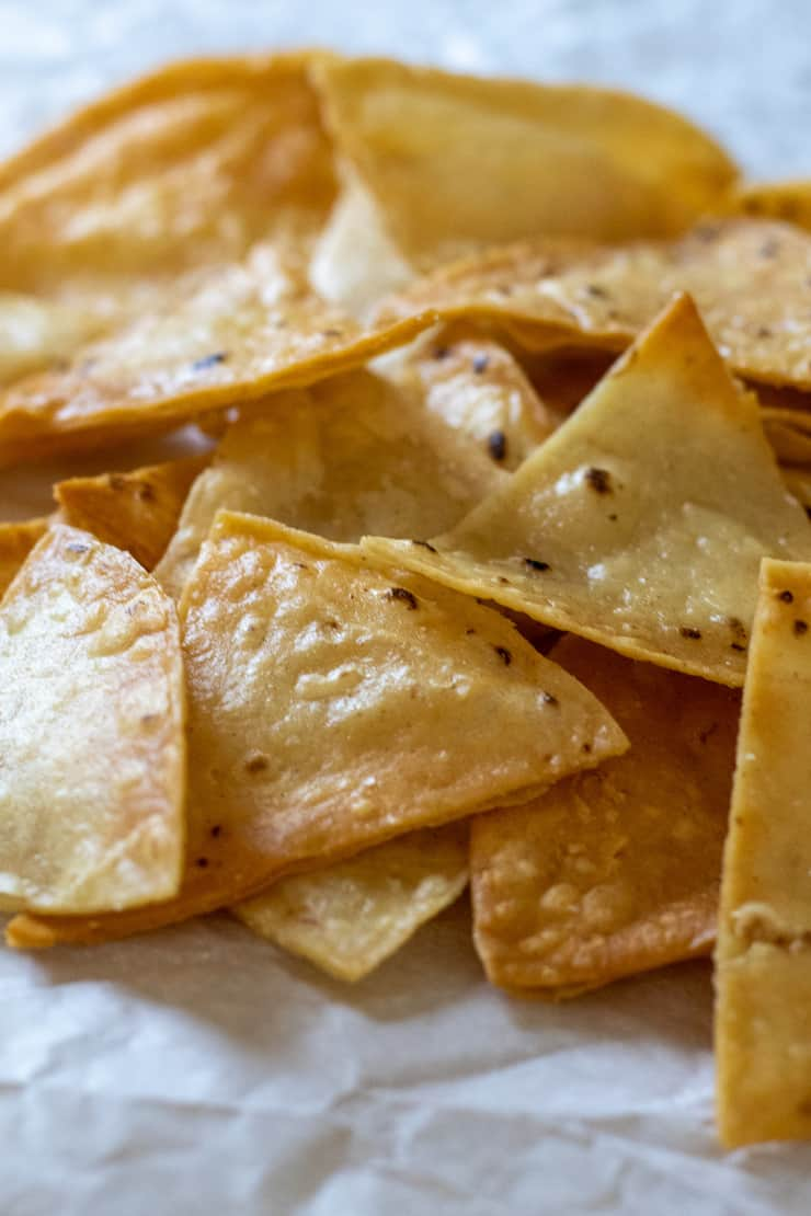 Close up of homemade tortilla chips.