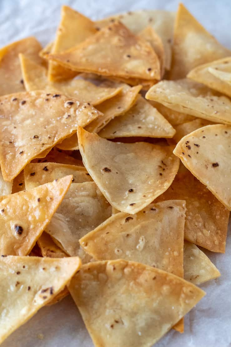 Closeup of homemade tortilla chips