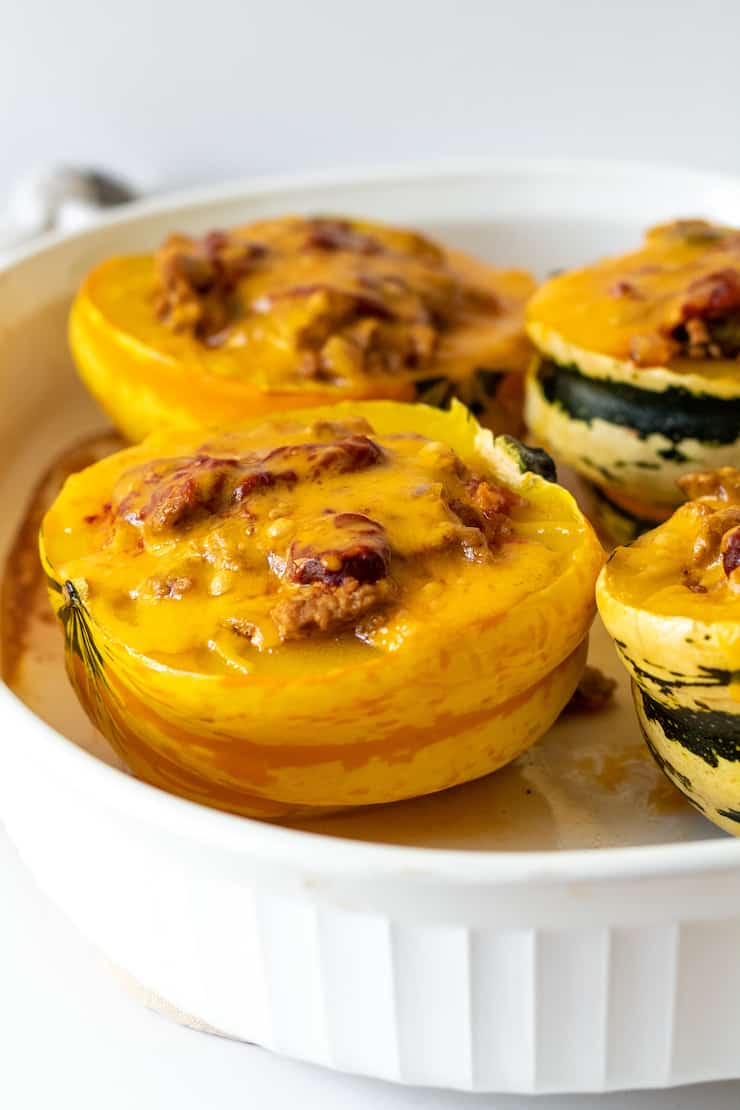 Close up of turkey stuffed squash.