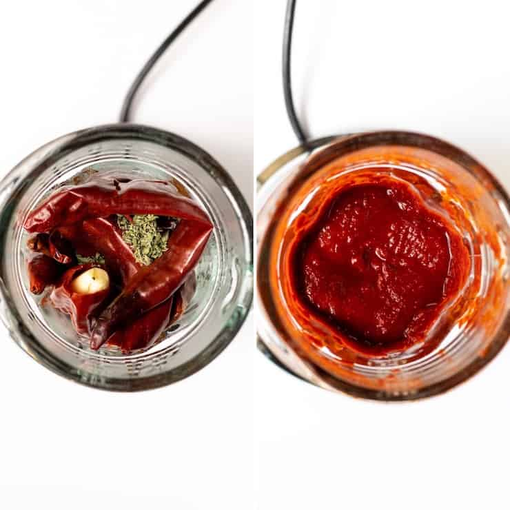 Chiles in blender with garlic, salt and oregano, then blended, blender process photo.