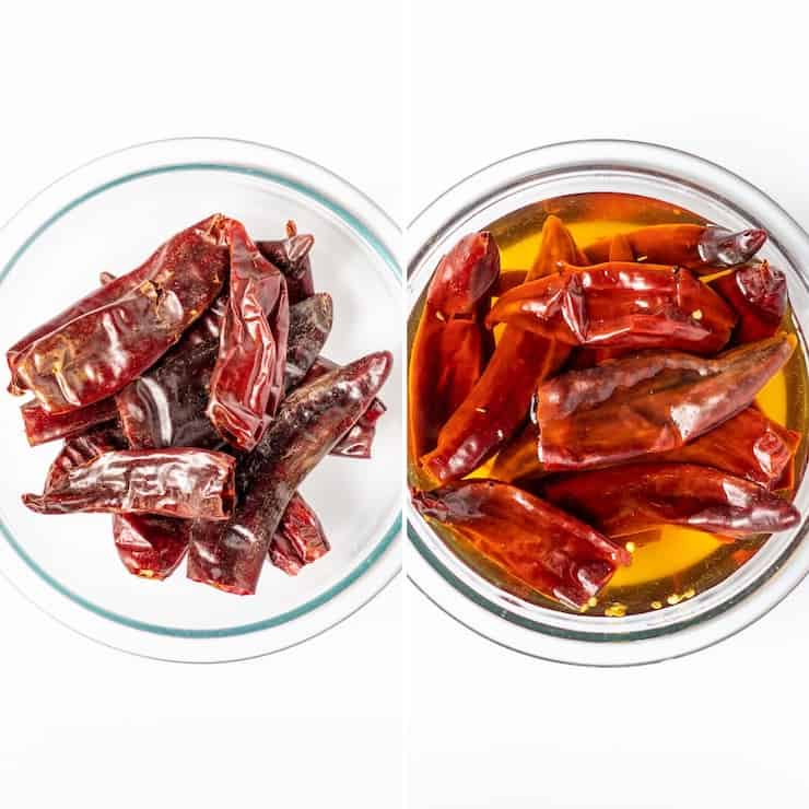 Reconstituting red chiles in bowl with boiling water, process collage photo.
