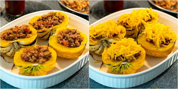 Two photo process collage of stuffing and topping squash for oven.