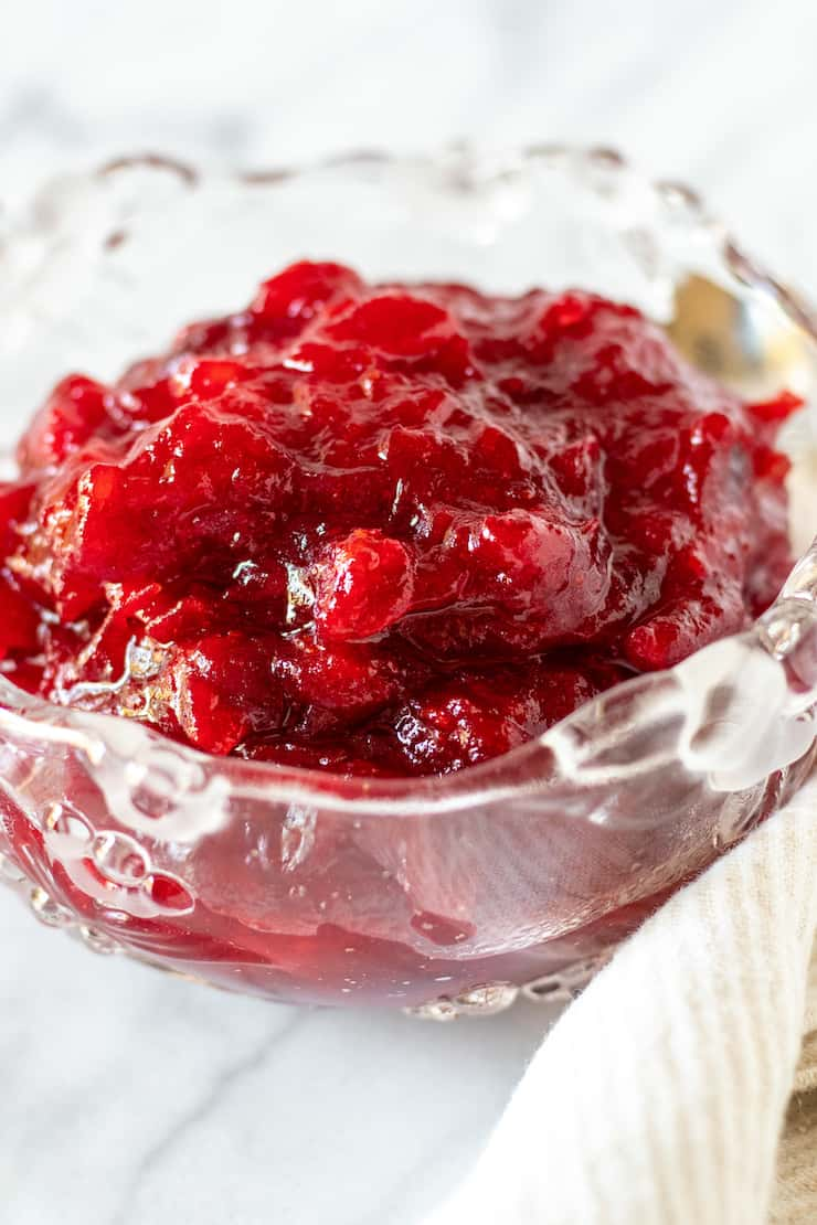 Cranberry orange sauce in serving dish.