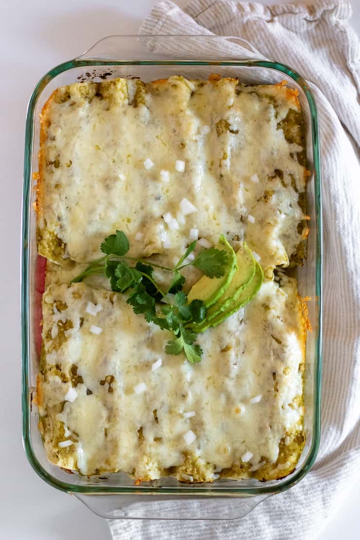 Baked enchiladas suizas just out of the oven.