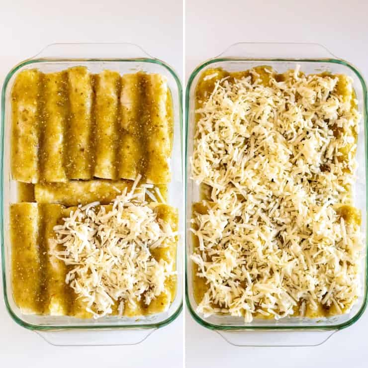 Topping enchiladas with cheese photo collage.