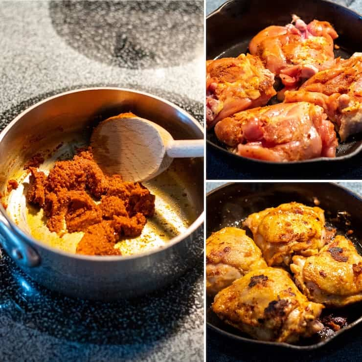 Three photo collage showing chicken browning process.
