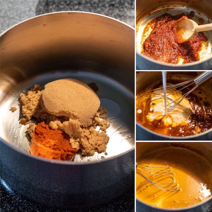 Photo collage showing step by step preparation of curry mixture.