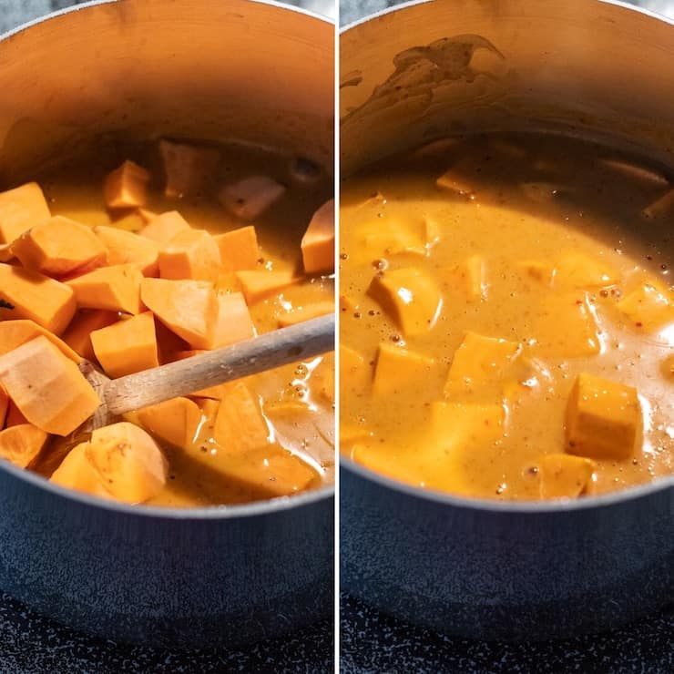 Side by side collage of adding sweet potatoes to curry mixture.
