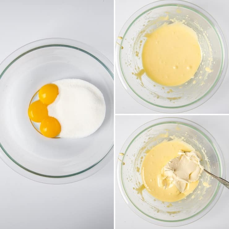 Process photo collage whipping egg yolks with sugar.