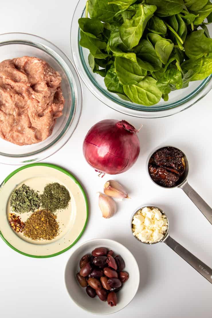 Ingredients for Greek turkey burgers.