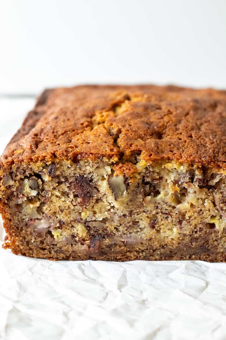 Side view of loaf of banana bread.