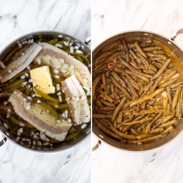 Side by side process photo collage, how to make the green beans.