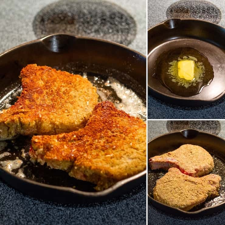 Three photo process collage showing browning in cast iron skillet.
