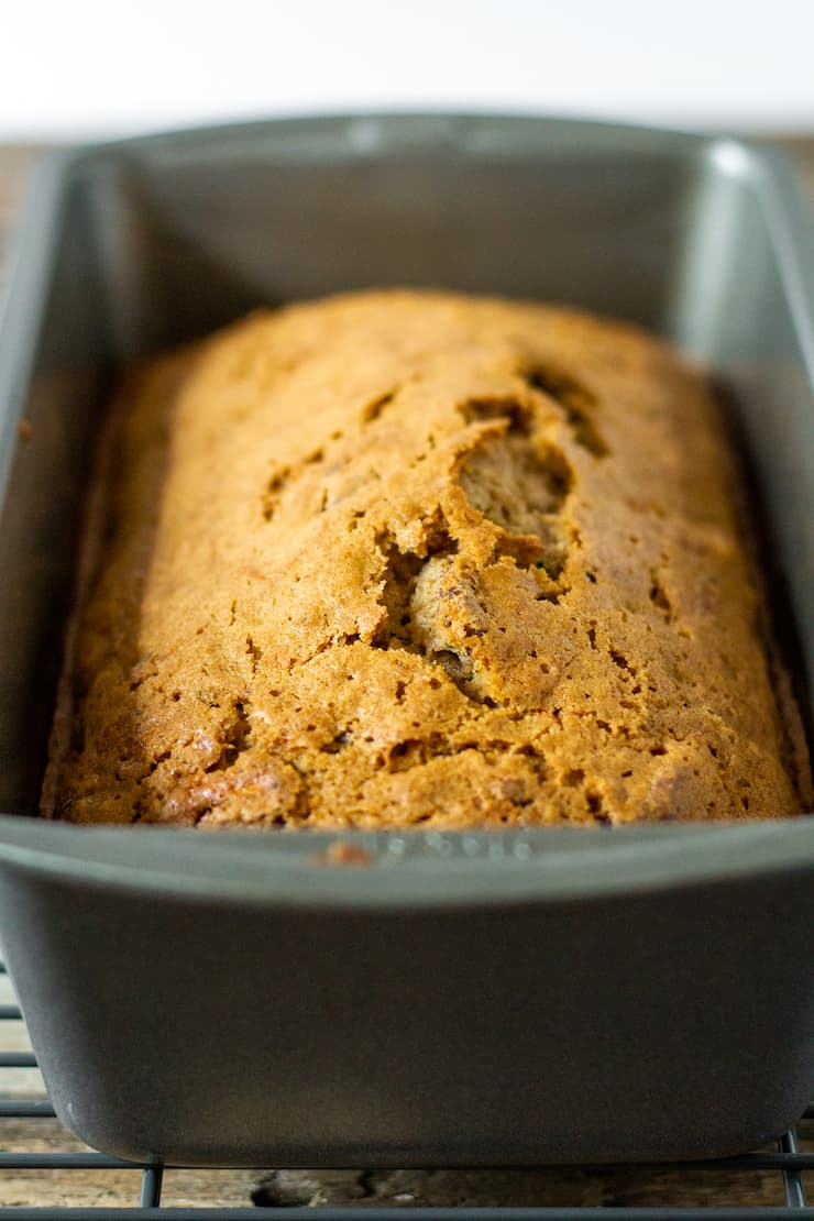 Zucchini bread baked in loaf pan.