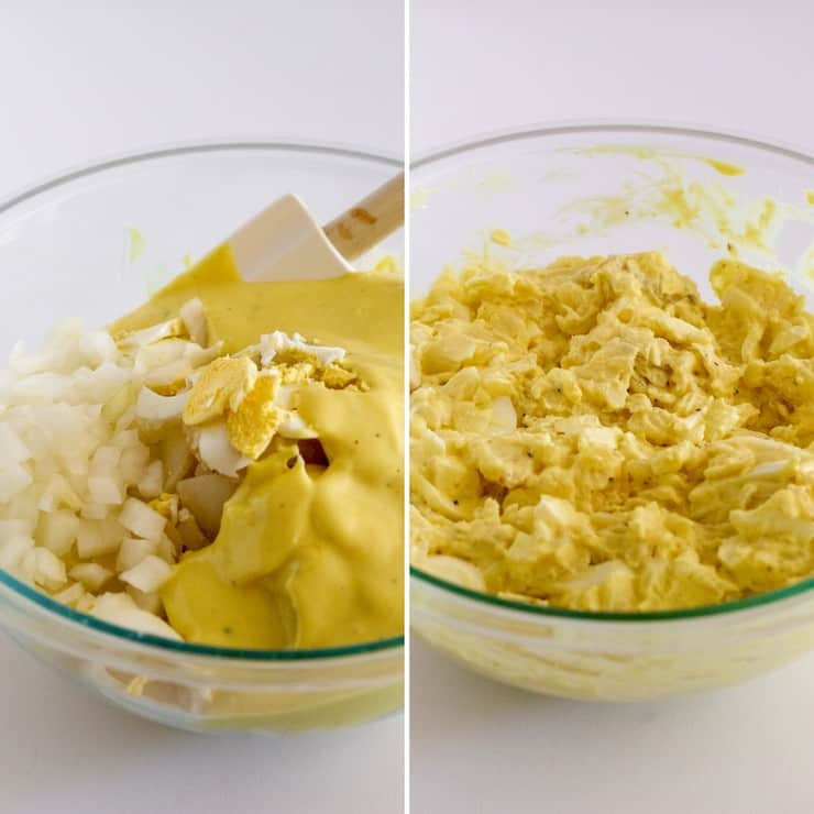 Mixing potato salad with onions and dressing.