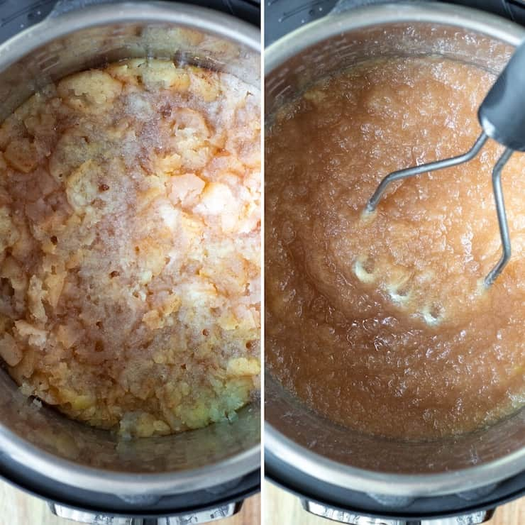 Process photo collage, mashing finished applesauce.