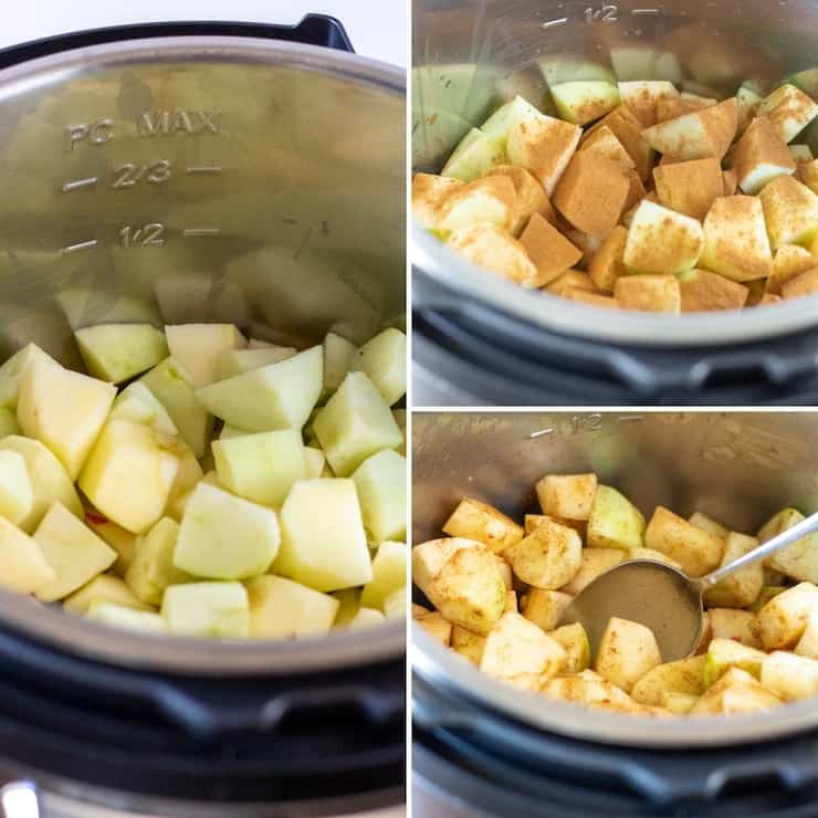 Photo collage, preparing apples and ingredients for pressure cooker.