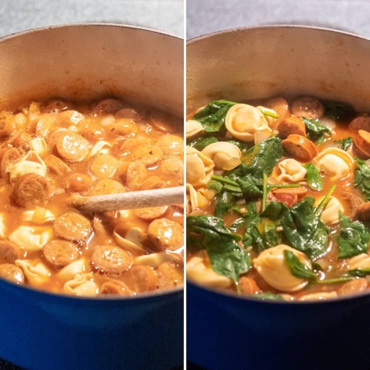 Two photo collage, adding tortellini and spinach.