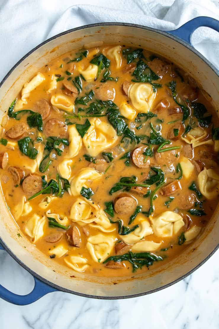 Overhead photo of pot of Cajun tortellini soup.