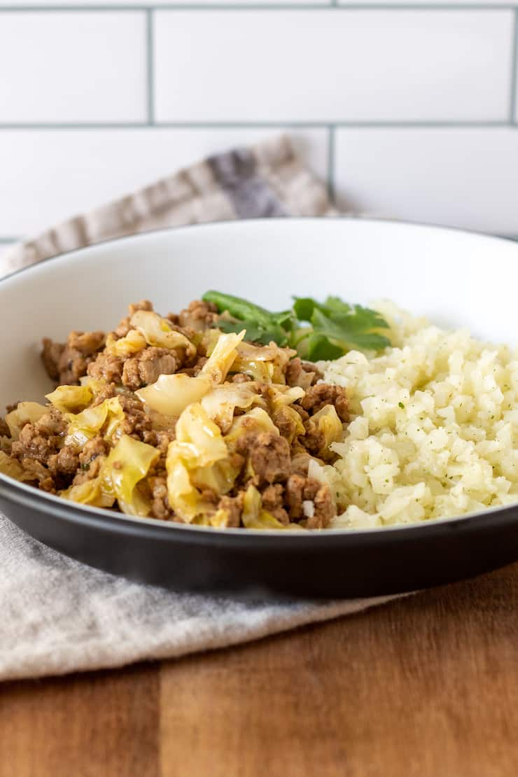 Stir-fry on plate with cauliflower rice.