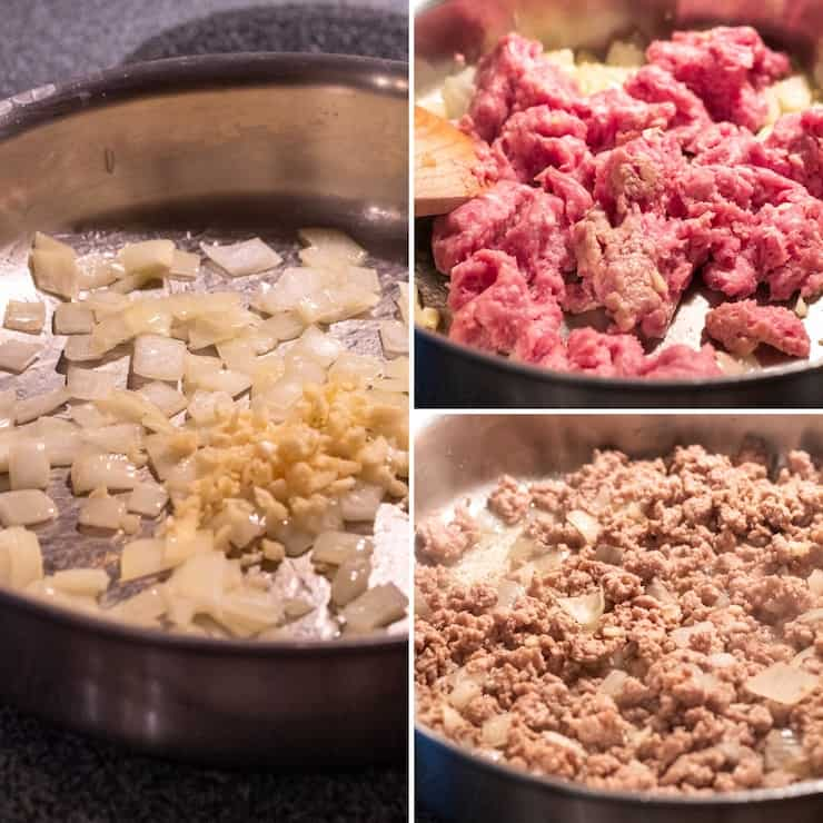 Three photo process collage, cooking aromatics and ground pork.