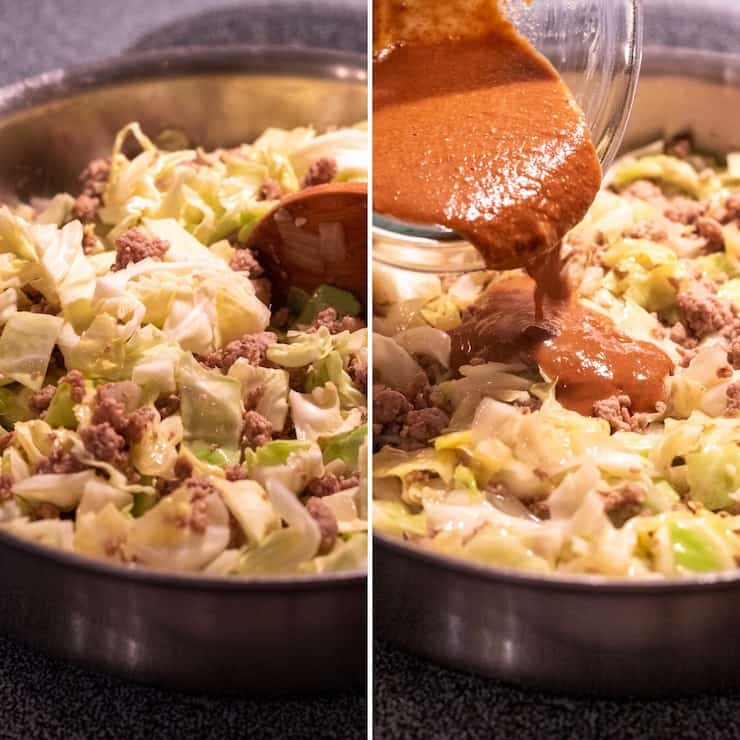 Two photo process collage, adding cabbage and sauce to skillet.