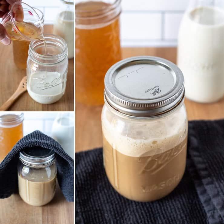 Three photo process collage, making latte in jar.