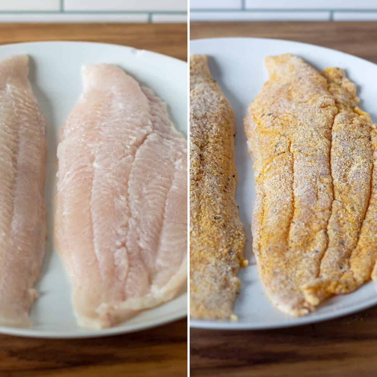 Two photo process collage, catfish fillets after buttermilk soak and then coated in cornmeal mixture.