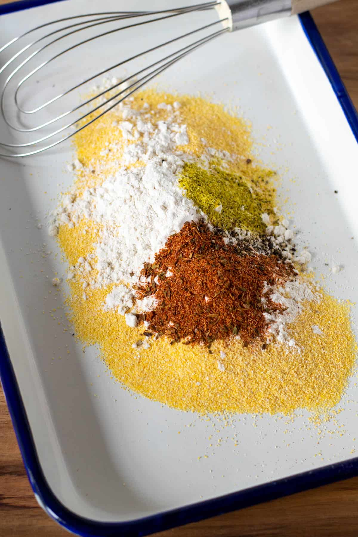 Dry ingredients in tray before mixing.