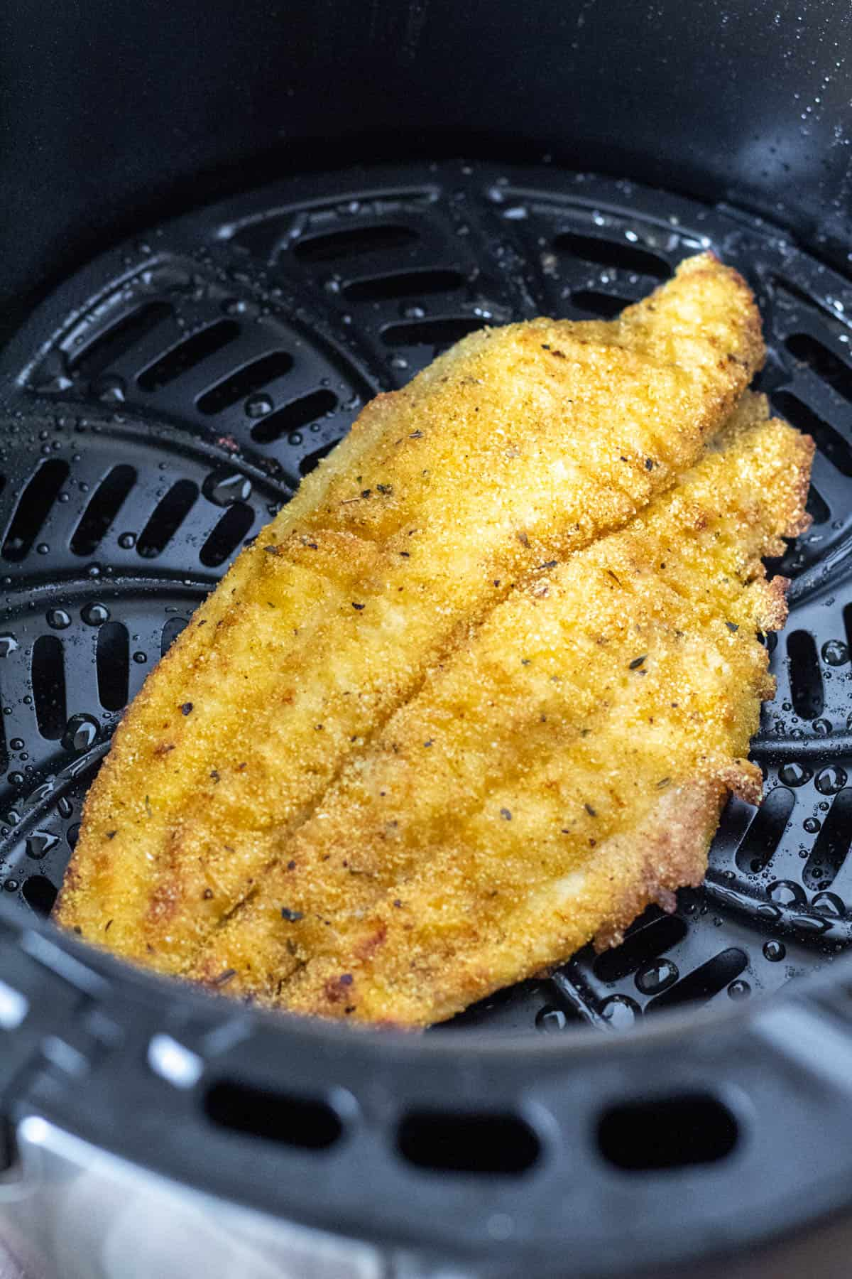 Catfish fillet in air fryer basket, browned on one side and ready to flip.