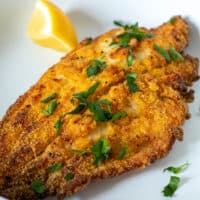 Crispy golden air fryer southern style catfish.
