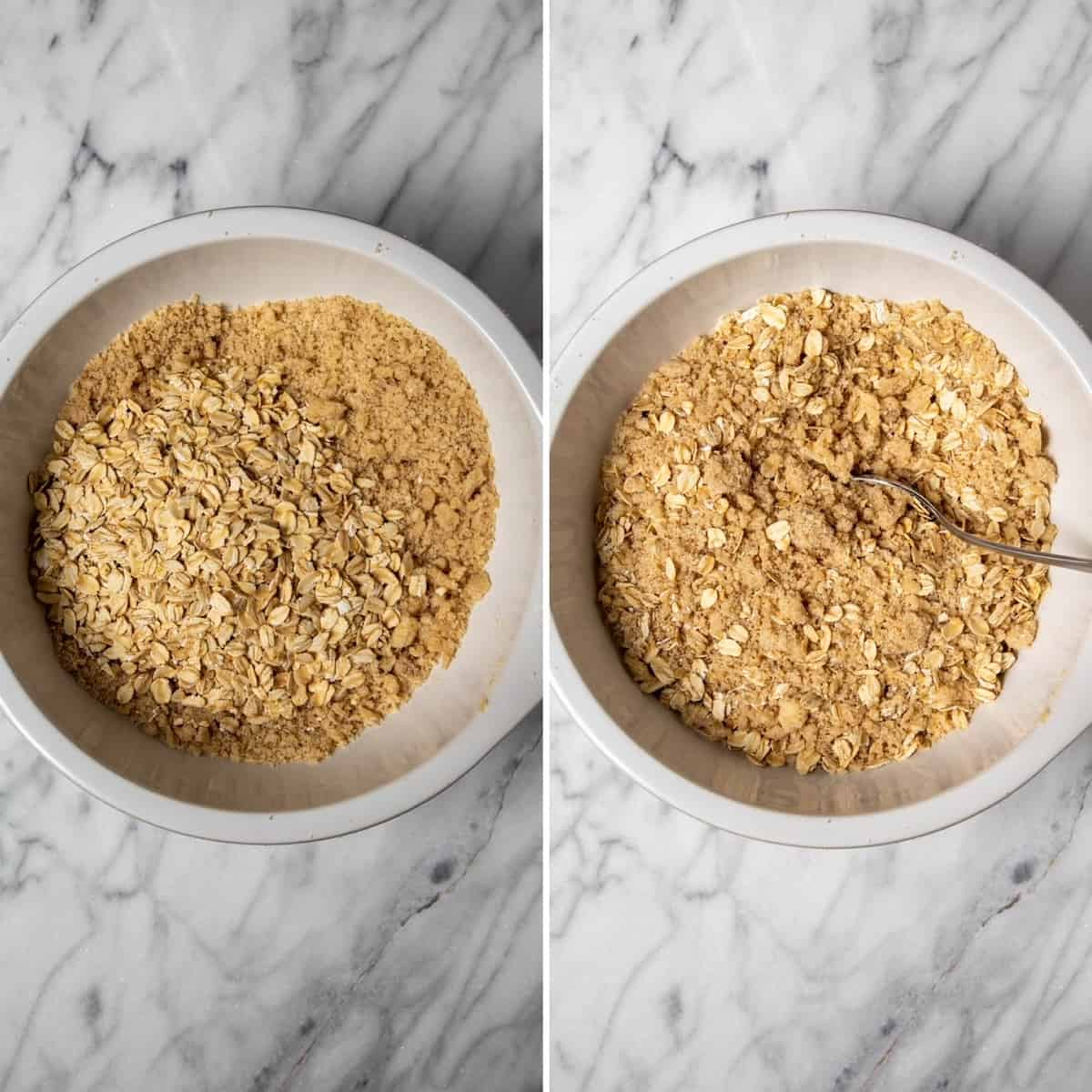 Two photo process collage, mixing in oats for topping.