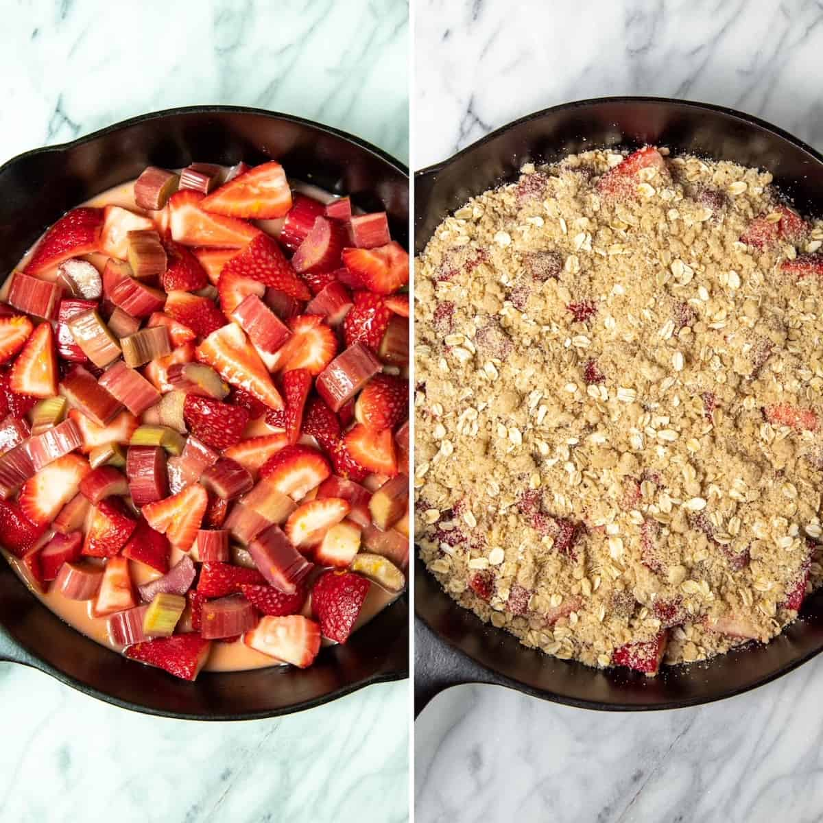 Two photo process collage, preparing fruit and topping in skillet before baking.