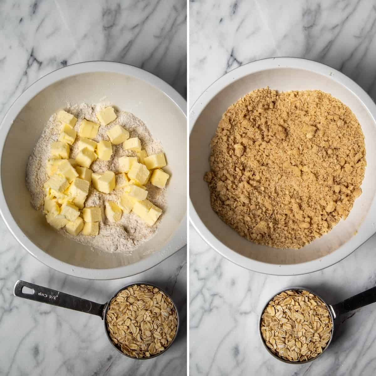 Two photo process collage, cutting in butter in dry ingredients for topping.