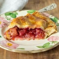 Piece of pie on serving plate with fork.