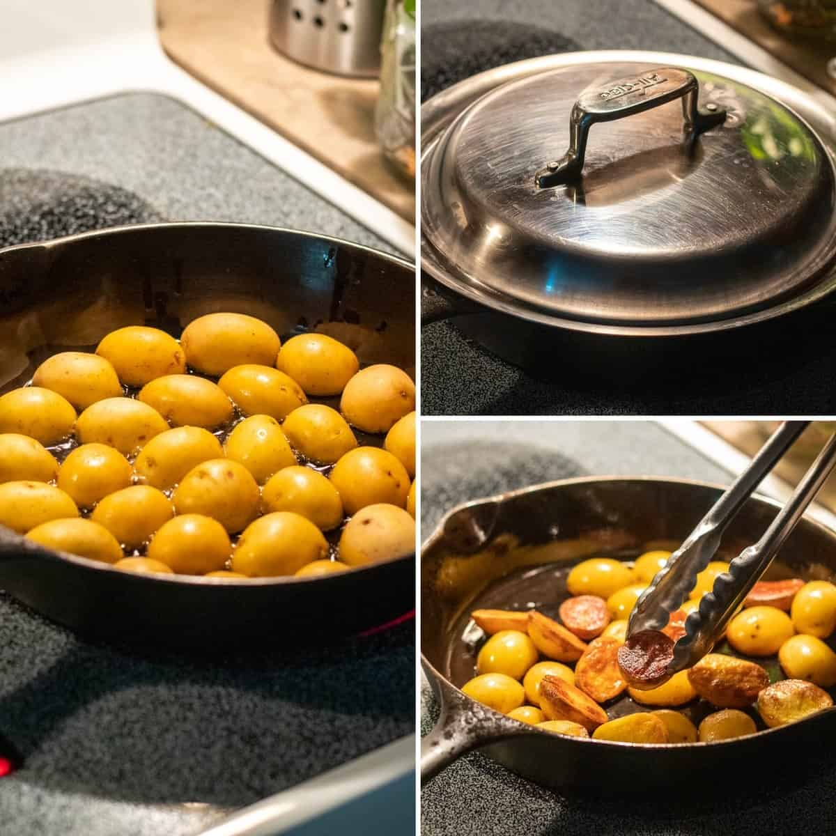 Three photo collage showing how to brown the potatoes in the skillet with a lid.
