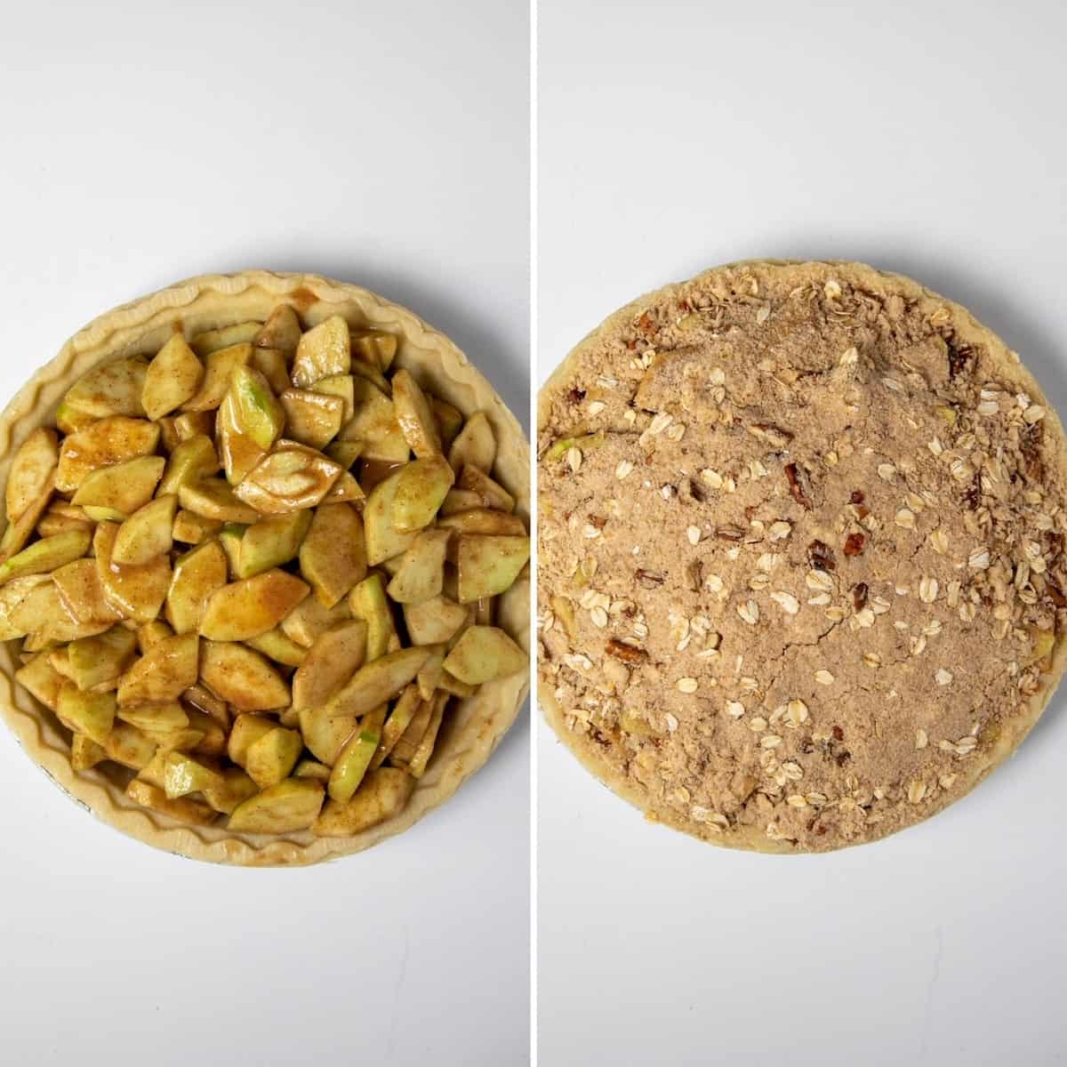 Two photo collage showing filling pie shell and topping with streusel before baking.