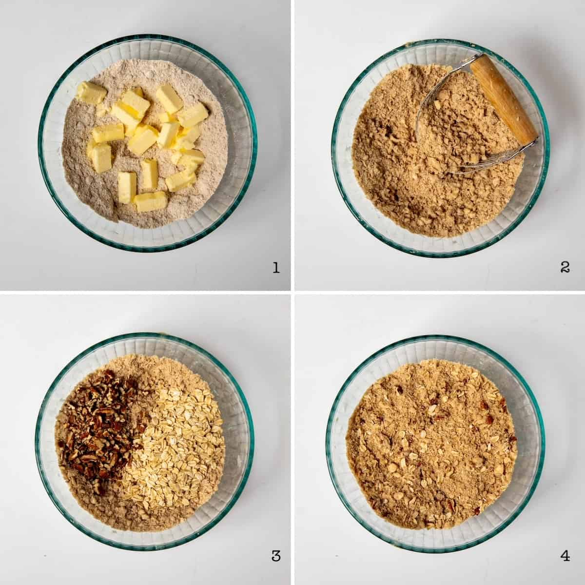 Four photo collage showing how to prepare streusel topping.