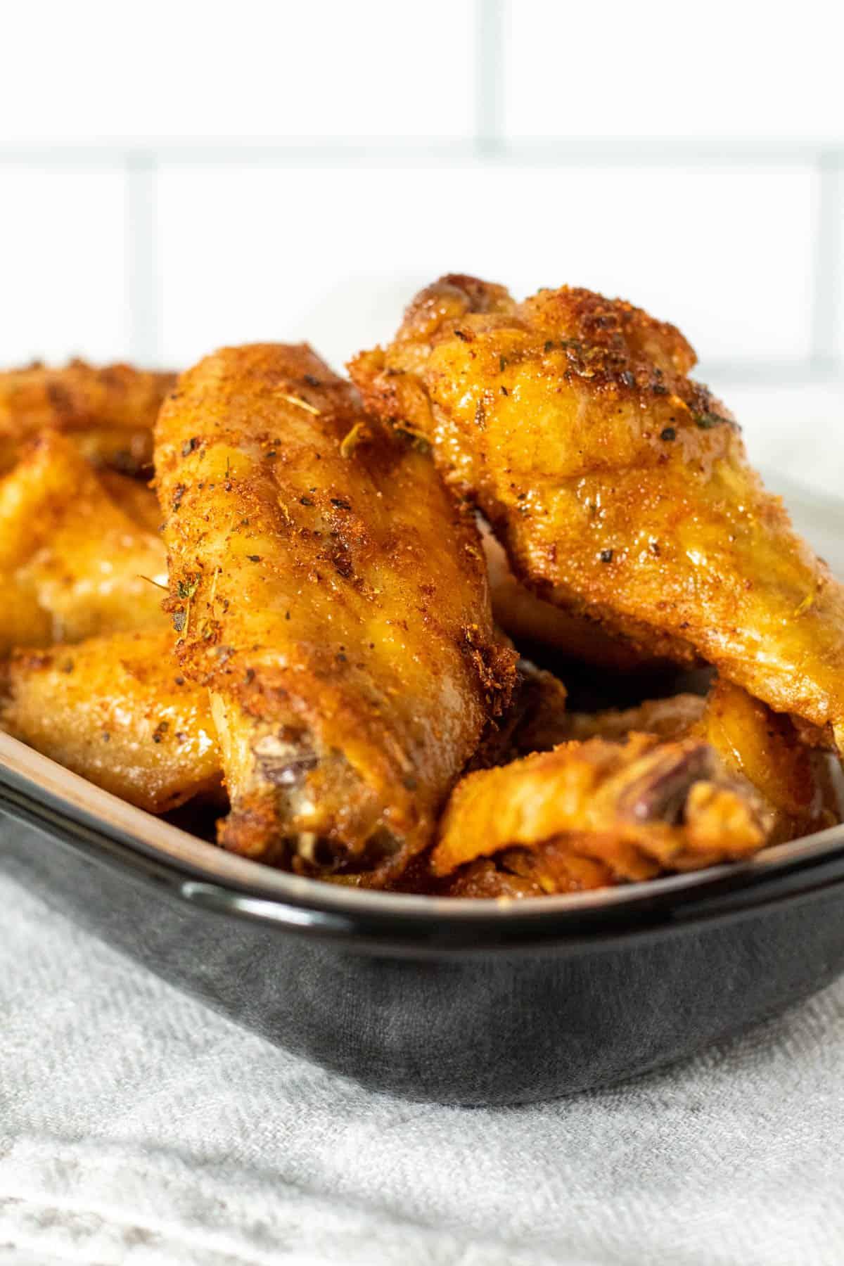 Pan of air fryer chicken wings.