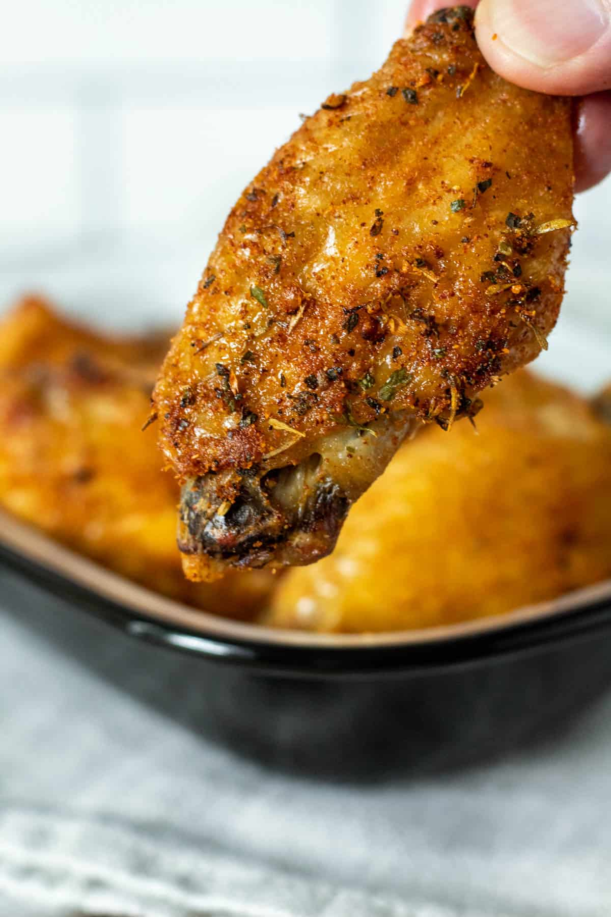 Close up of air fryer flat wing portion.