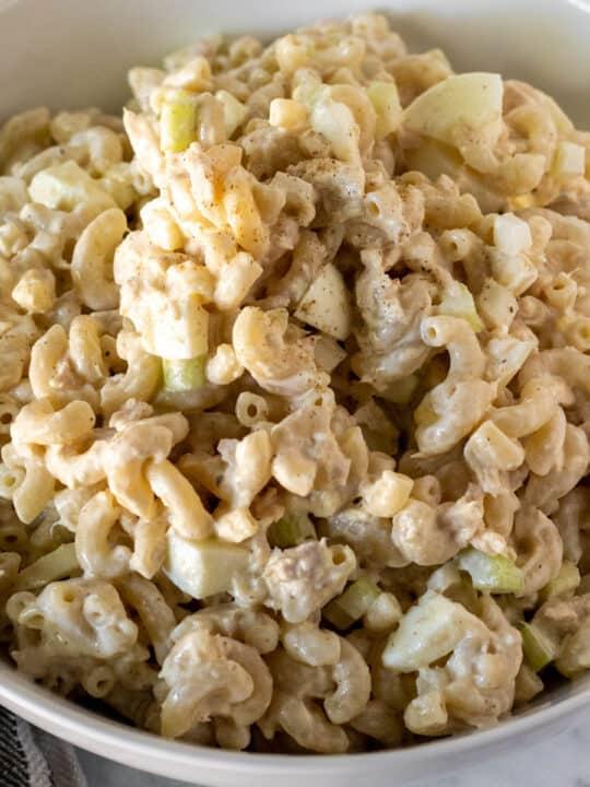 Tuna macaroni salad in serving bowl.